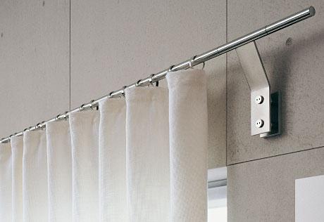 edelstahl gardinenschiene mit transparenter gardiene 5. Black Bedroom Furniture Sets. Home Design Ideas